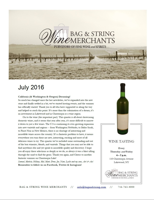July 2016 Wine Club Notes